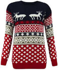 Unisex Fair isle Knitted Christmas Jumper Traditional Reindeer Curve Plus Size