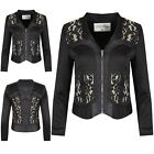 Womens Ladies Collared Zip Up Floral Lace Panel Long Sleeve Jacket Coat Blazer