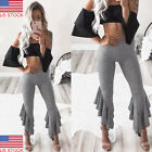 Women Boho Hippie High Waist Wide Leg Long Flared Bell Bottom Yoga Pants USA