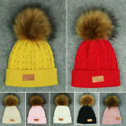 UK Baby Hat Boys Girls Kids Infant Warm Faux Fur Pom Bobble Knit Beanie Hat Cap