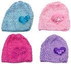 Bella Toddler's Stretchy Knitted Bonnet Hat with Sweetheart Aplique U16250-6411