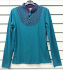 COLINE TEAL PURPLE LONG SLEEVED STRETCH TOP COLLARED PRINTED FLOWER YOKE BUTTONS