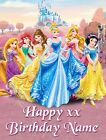 Disney Princess Rectangle Shaped Personalised Icing Birthday Cake Topper