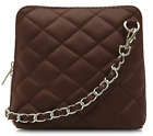 Ladies Micro Italian Leather Quilted Evening Shoulder Crossbody Bag