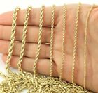 "Real 14K Yellow Gold 1mm-5mm Rope Chain Link Necklace Bracelet Mens Women 7""-32"" image"