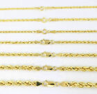 """REAL 14K YELLOW GOLD GENUINE 1-5MM ROPE CHAIN NECKLACE BRACELET MEN WOMEN 7""""-32"""""""