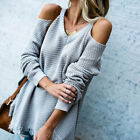 US Stock Womens Sexy Cold Shoulder Long Sleeve V Neck Sweater Fashion Tops S-XL
