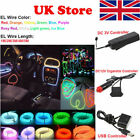 1/2/3/4/5m Car Interior Atmosphere Glow El Wire Led Strip Light Rope 3v/12v Usb