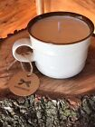 8-12 oz. Hand Poured Soy Wax Candle Coffee Cup Cozy Campfire Scented Cotton Wick