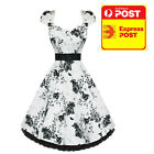 Hearts and Roses Retro Dress RK281 black white Racing Spring 2017 size 8 10