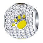 Paw Print Charm Bead - 925 Sterling Silver - Puppy Dog Cat Kitten Christmas Gift