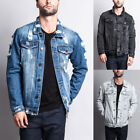 NWT Victorious Men's Wash Distressed Denim Jean Jacket -DK100