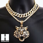 Hip Hop Iced Out Premium Drake Tiger Miami Cuban Choker Tennis Chain Necklace B