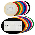 ROUND OVAL Light Switch Plug Socket Surround Colour Acrylic Plywood Finger Panel