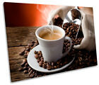 Hot Coffee Cup Beans Kitchen Print CANVAS WALL ART Picture Framed