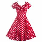 Daily Ladies Polka Dot Swing Boat-Neck Dress Daily Women Housewife Dress