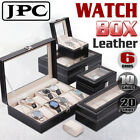 6/10/20SLOT Watch Jewelry Display Storage Holder Case Box Organizer Faux Leather