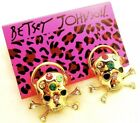 Betsey Johnson Bests Headphones Skull Gold Colorful Earrings Crystals Adorable