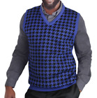 Big and Tall Blue Ocean Jacquard Houndstooth Sweater Vest (SV-777BM)