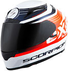 New Scorpion  Exo-R2000 Full-Face Fortis Helmet White/Orange [All Sizes]