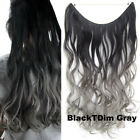22'' Wave Ombre Two Tones Synthetic Hairpieces Fish Line Halo Hair Extensions