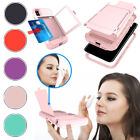 For Apple iPhone X 10 Stylish Card Holder Shockproof Mirror Tough Case Cover