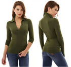 Womens V Neck Long Sleeve Polo Shirt Slim Fit Casual Shirts Tops Blouse USA