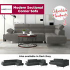 Modern Grey Fabric Sectional Corner Sofa Chaise Lounge Suite Couch Furniture