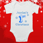 Baby's First Christmas ANY NAME Boy Girl Bodysuit Baby Vest Cute Gift Funny #50