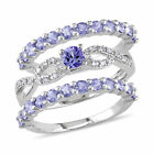 Amour Sterling Silver Tanzanite, 1/10ct TDW Diamond Infinity Ring Set