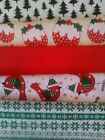 POLY'COTTON FABRIC BUNDLES RED GREEN CHRISTMAS 2 SIZES PATCHWORK QUILTING CRAFTS