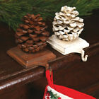 Cast Iron Shelf or Mantel Hook Pinecone Brown White Christmas Stocking Holder