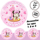Baby Minnie Mouse personalised edible icing 1st Birthday round cake topper