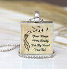 Photo Pendant Necklace Silver - Your Wings Were Ready But My Heart Was Not Tan