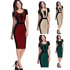 Ladies Sexy Bandage Bodycon Slim Office Short Sleeve Pencil Party Cocktail Dress