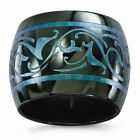 Edward Mirell Black Ti Anodized Teal Domed 16mm Band