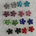 Flowers studs earrings with tiny crystals in 8 different colours + free stoppers
