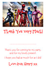 personalised photo paper card party birthday thank you notes POWER RANGERS #1