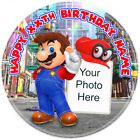 Super Mario Odyssey Personalised Round Edible Icing Birthday Cake Topper