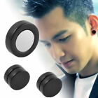 1 Pair Mens Women Non Piercing Ear Stud Clip On Round Magnetic Earrings