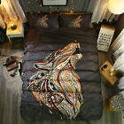 Twin Full Queen King Bed Set Pillowcase Quilt Cover oauR Colorful Wolf mzl