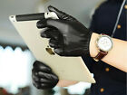 man fashion luxury top Italy leather  wrist back three lines black gloves