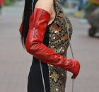 "70cm(27.6"") long women  mid visible zipper opera super long shoulder gloves red"