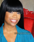 Brazilian Lace Front Wig With Straight Bangs Remy Human Hair Natural Color Wigs