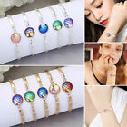 Women Girl Round Center Bracelet Fish Scale Creative Multicolor Mermaid Gifts