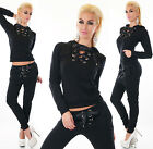 Sexy Women's 2-Piece Full Tracksuit Jogging With Hood Black Leisure Suit HOT