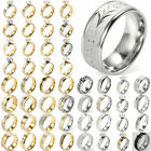 2017 New Men Gold/Silver Plated Stainless Steel Zircon Punk Ring Jewelry
