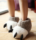 Cute Winter Cotton Warm Shoes Women Men Bear Claws Shape Soft Home Slippers