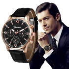 US Fashion Men's Watches Stainless Steel Analog Quartz Sport Leather Wrist Watch image