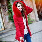 Women Lady Down Cotton Parka Winter Long Fur Collar Hooded Coat Jacket Fashion